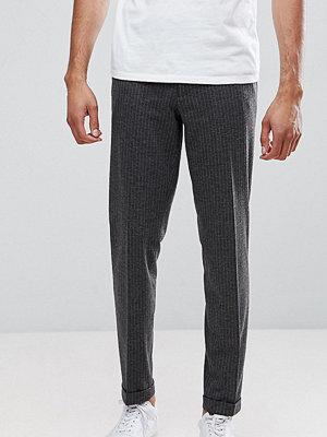 ASOS TALL Skinny Crop Smart Trousers In Charcoal Pinstripe With Turnup
