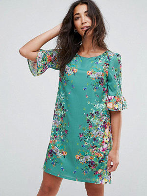 Yumi Frill Sleeve Dress In Floral Border Print
