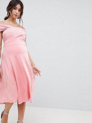 ASOS Maternity Skater Dress With Bardot Neckline - Nude