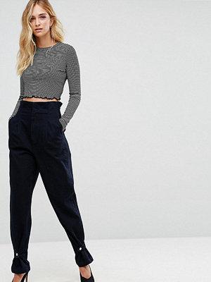 Asos Tall High Waisted Denim Trousers with Cinch Hem