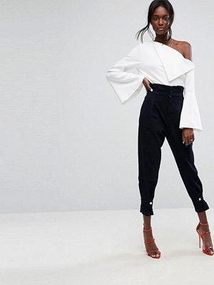 ASOS High Waisted Denim Trousers with Cinch Hem