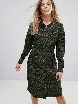 Brave Soul Lexis Button Through Midi Dress In Camo Print