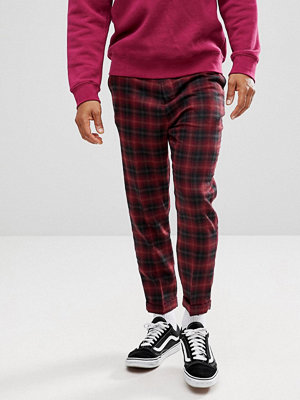 ASOS Drop Crotch Tapered Trousers In Wool Mix Burgundy Check