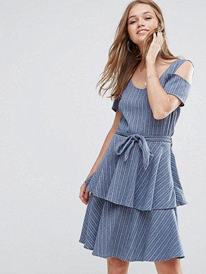 Liquorish Denim Cold Shoulder Dress With Ruffle Skirt