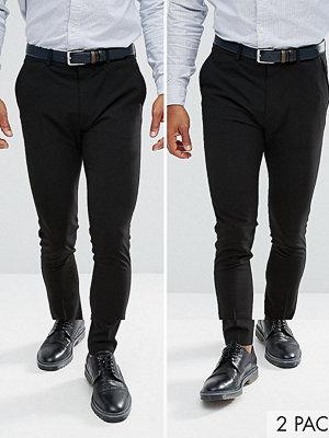 ASOS 2 Pack Super Skinny Trousers In Black SAVE
