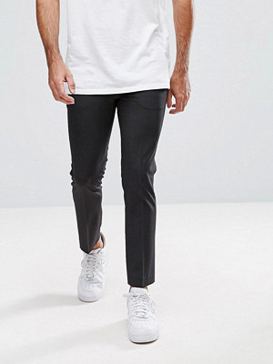 ASOS Super Skinny Cropped Smart Trousers In Charcoal