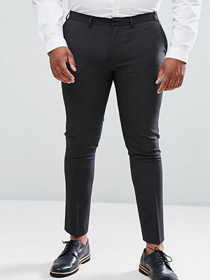 ASOS PLUS Super Skinny Smart Trousers in Charcoal