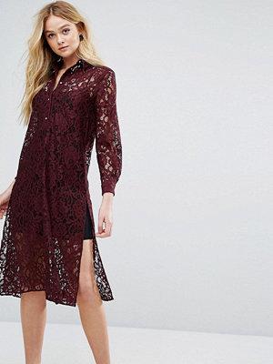 Closet London Closet Long Sleeve Collared Lace Shirt Dress - Maroon