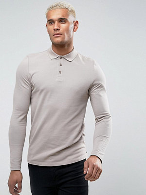 ASOS Long Sleeve Muscle Fit Polo In Pique In Grey