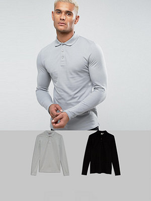 ASOS Muscle Fit Long Sleeve Polo In Pique 2 Pack SAVE