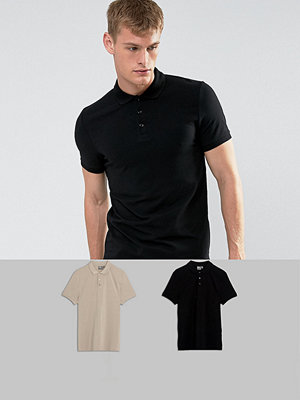 ASOS Muscle Fit Polo In Jersey 2 Pack SAVE
