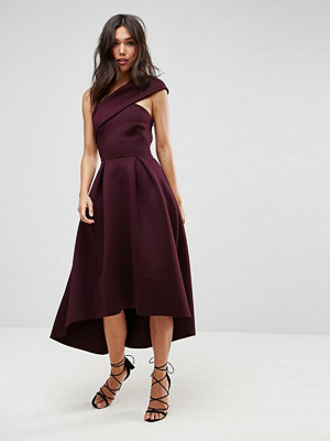ASOS One Shoulder Foam Scuba Dip Back Midi Skater Dress - Aubergine