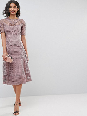 ASOS PREMIUM Occasion Lace Midi Dress - Mink