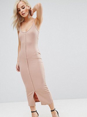 ASOS Petite Bodycon Maxi Dress with Popper Details - Taupe