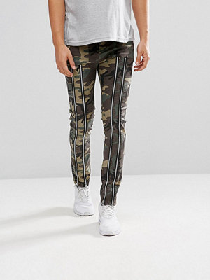 ASOS Skinny Trousers With Zip Detail And Camo Print
