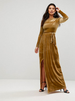 Club L Tie Front Wrap Detail Maxi Dress - Mustard
