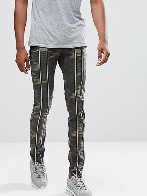 ASOS TALL Skinny Trousers With Zip Detail And Camo Print