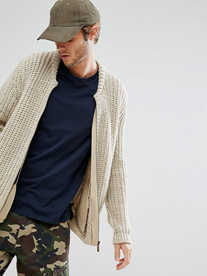 ASOS Heavyweight Knitted Bomber In Beige