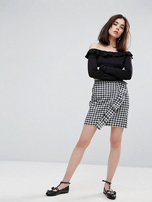 Plain Studios Mini Skirt In Gingham With Frill Detail