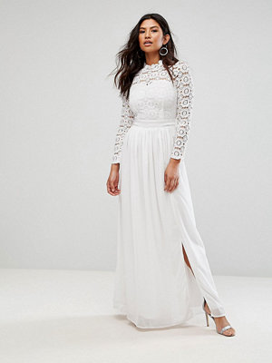 Club L High Neck Crochet Maxi Dress - Ivory