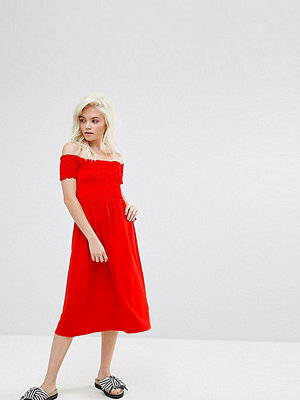 ASOS Petite Off Shoulder Shirred Midi Sundress