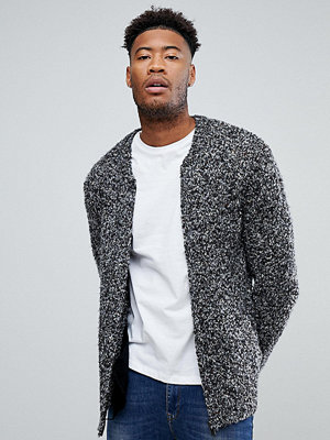 ASOS TALL Heavyweight Knitted Textured Bomber In Charcoal
