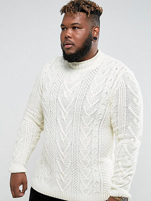 ASOS PLUS Cable Knit Jumper In Oatmeal
