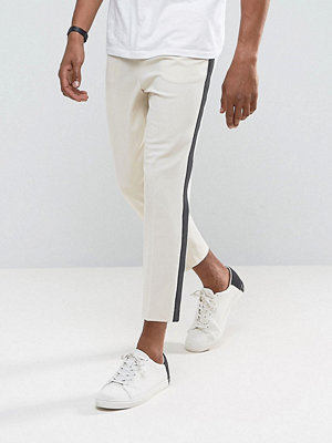 ASOS Tapered Smart Trousers In Putty With Charcoal Side Stripe
