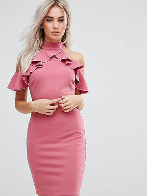 City Goddess Petite Pencil Dress With Ruffle Detail - Rose