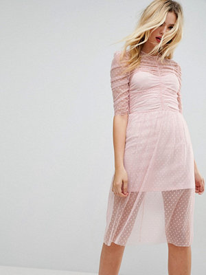 ASOS Ruched Midi Dress In Spot Mesh - Blush