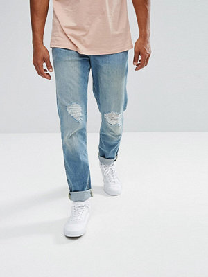 ASOS Stretch Slim Jeans In Light Wash With Rips