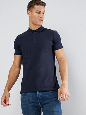 ASOS Pique Polo With Button Down Collar In Blue
