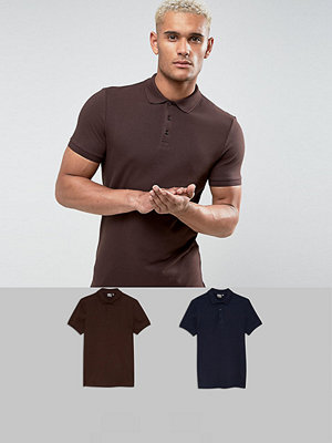 ASOS Muscle Fit Pique Polo 2 Pack SAVE