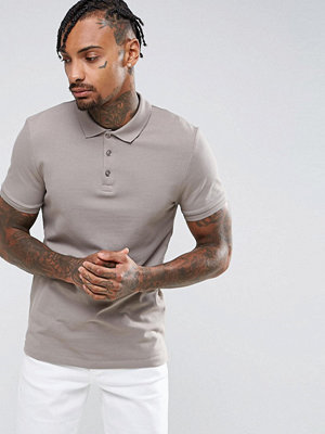 ASOS Muscle Fit Pique Polo In Statue