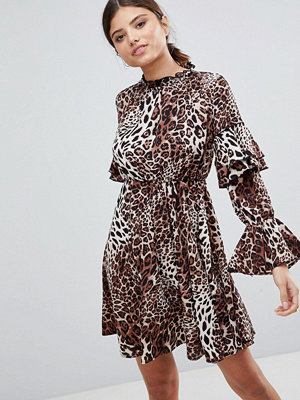 Club L High Neck Leopard Detailed Tiered Arm Dress
