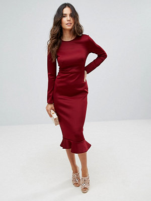 Club L Office Long Sleeve Detailed Dress With Peplum Frill Hem Bodycon Midi Dress - Berry