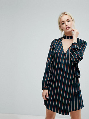 J.O.A Wrap Front Dress With Choker Neck In Satin Fine Stripe