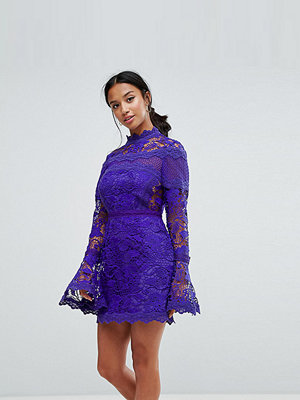 ASOS Petite Lace Long Sleeve Mini Dress With Fluted Sleeves - Purple