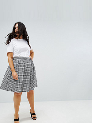 Ax Paris Plus Gingham Elasticated Waist Skirt