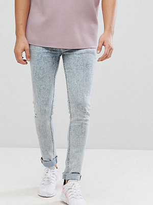 ASOS TALL Super Skinny Jeans In Vintage Bleach Wash Blue