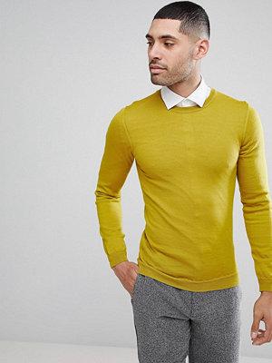 ASOS Muscle Fit Merino Wool Jumper In Yellow