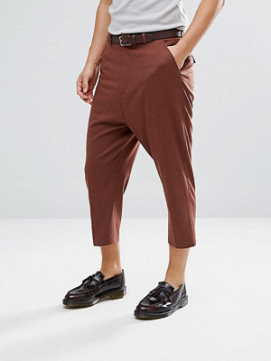 ASOS Drop Crotch Tapered Smart Trousers In Rust Wool Mix