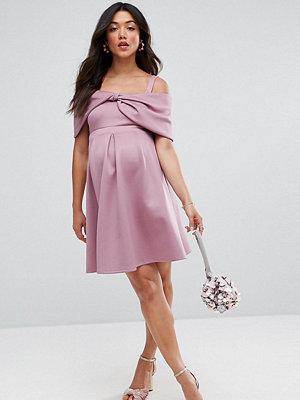 ASOS Maternity Bow Front off the Shoulder Bardot Skater Mini Dress - Mauve