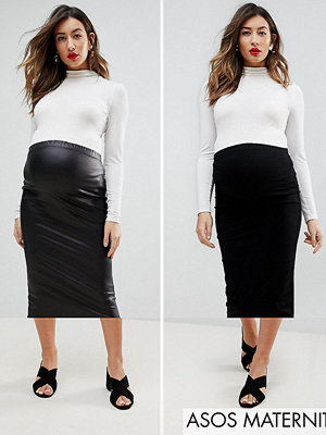 ASOS Maternity Over The Bump Longer Line Midi Skirt and Leather Look Skirt 2 Pack