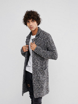 ASOS Longline Heavyweight Knitted Duster Cardigan in Charcoal - Charcoal