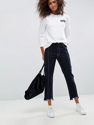 ASOS AUTHENTIC Straight Leg Jeans With Vertical Seam In Indigo With a Contrast Stitch