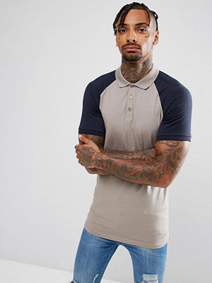 ASOS Longline Muscle Polo With Contrast Raglan