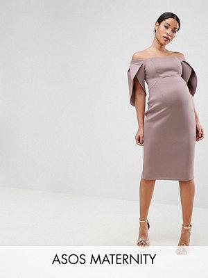ASOS Maternity Petal Sleeve Bardot Midi Bodycon Dress - Mink