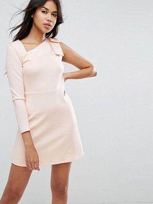 ASOS Mini Scuba Dress with One Sleeve and Bow Shoulder Detail - Nude