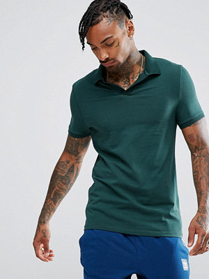 ASOS Jersey Polo Shirt With Revere Collar in Muscle Fit